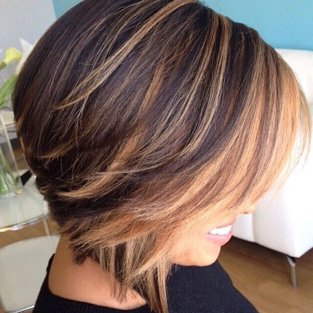 short hairstyles without bangs : Short Straight Bob Haircut with Blond Highlights via