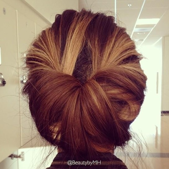 Simple Updo Hairstyle for Medium Length Hair via