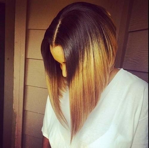 Straight Long Bob Haircut for Ombre Hair