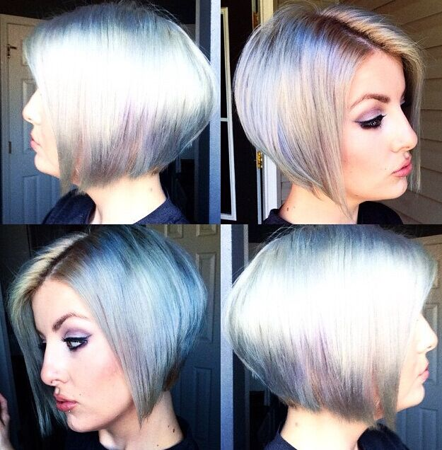 Cool Colored Bob Hairstyle For Short Hair Via