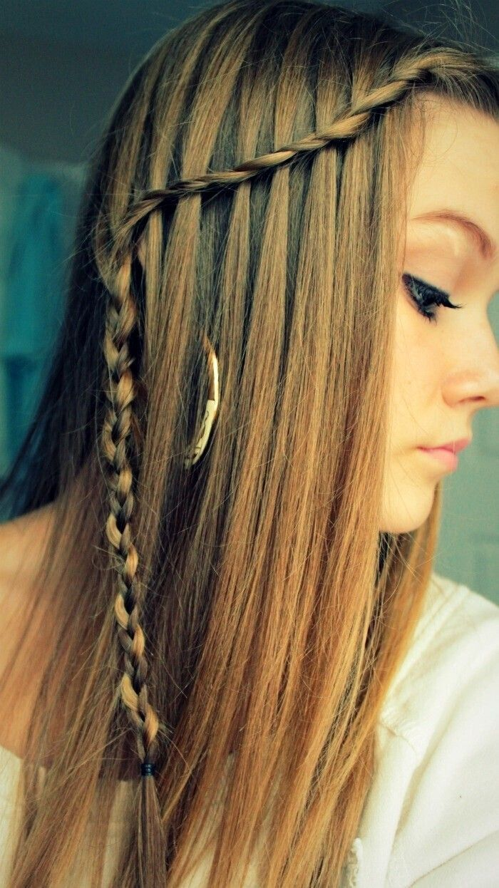 Great Waterfall Braid Hairstyle For Long Straight Hair