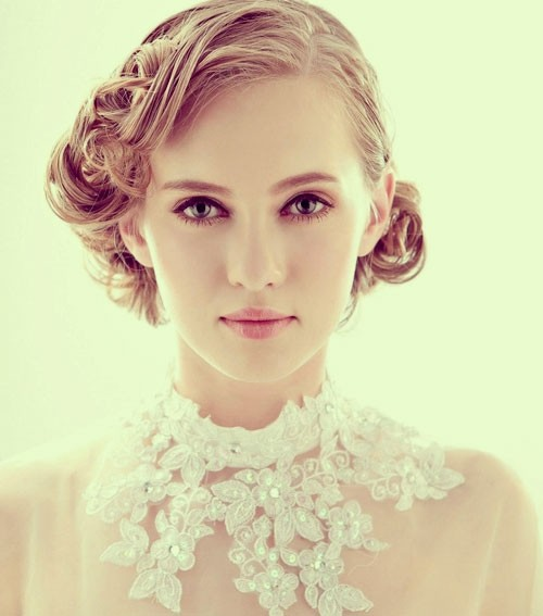 Wedding Updo Hairstyle Idea for Short Curly Hair Pinterest
