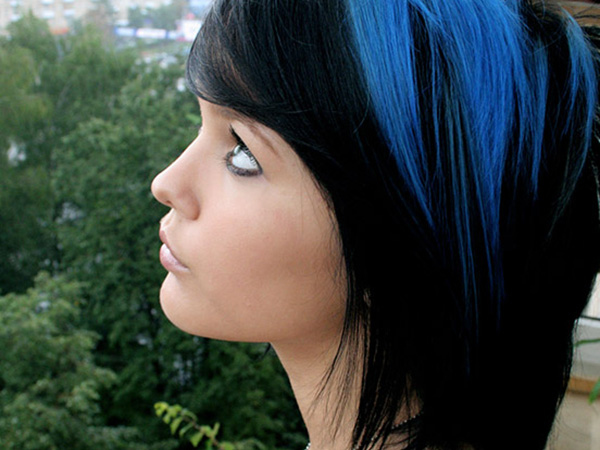 Edgy Medium Hairstyle for Blue and Black Hair
