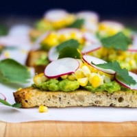 Grilled Corn Crostini with Avocado