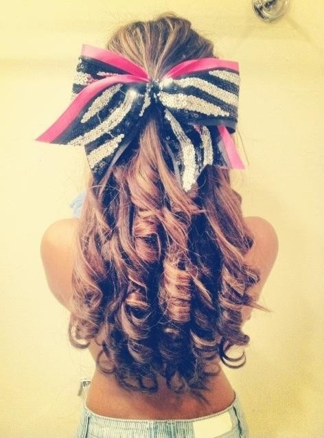 Long Curly Hairstyle with Bow
