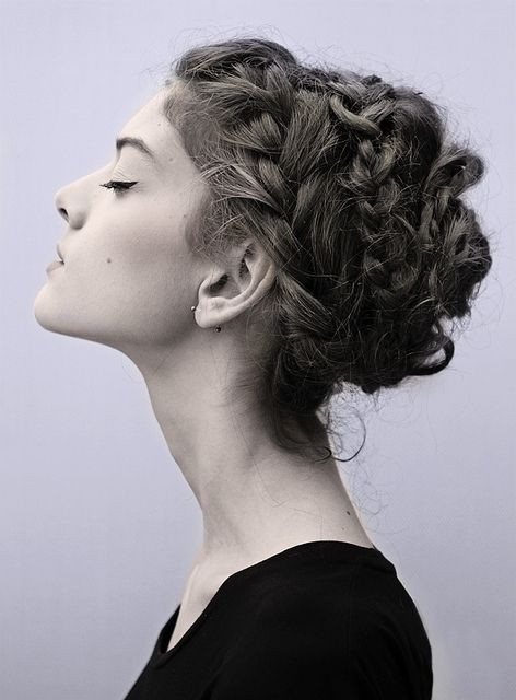 curly fade hairstyle : Messy Crown Braided Updo Hairstyle via