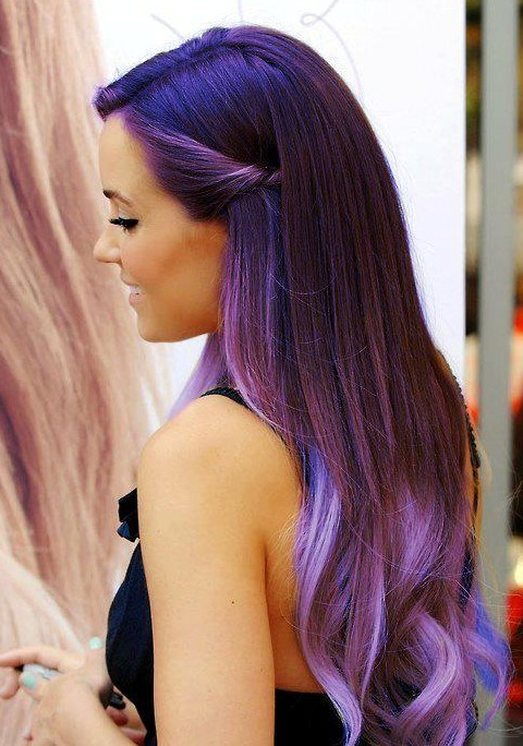 Purple Ombre Hair Color for Long Straight Hair