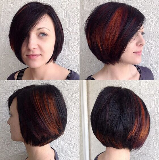 Short Bob Hairstyle With Red Highlights Via Haircuts
