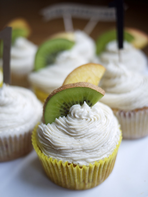 Spiked Peach Cupcakes with Bourbon Buttercream
