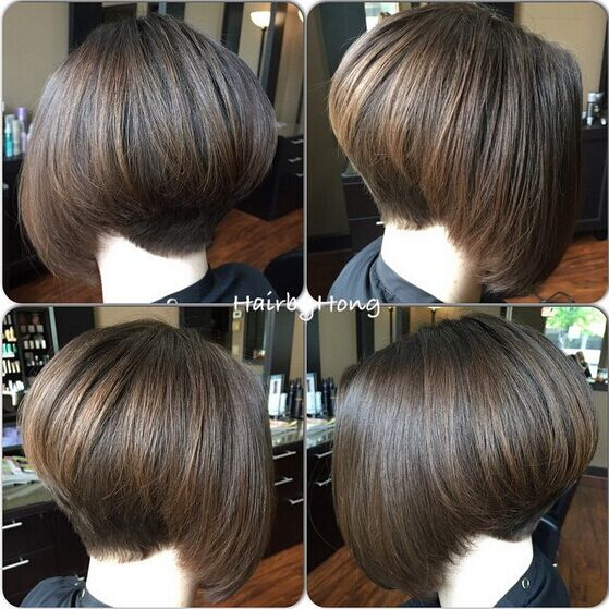 Stacked Bob Haircut for Straight Hair via