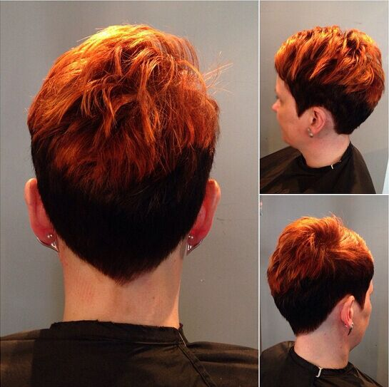 Trendy Short Pixie Haircut with Red Highlights