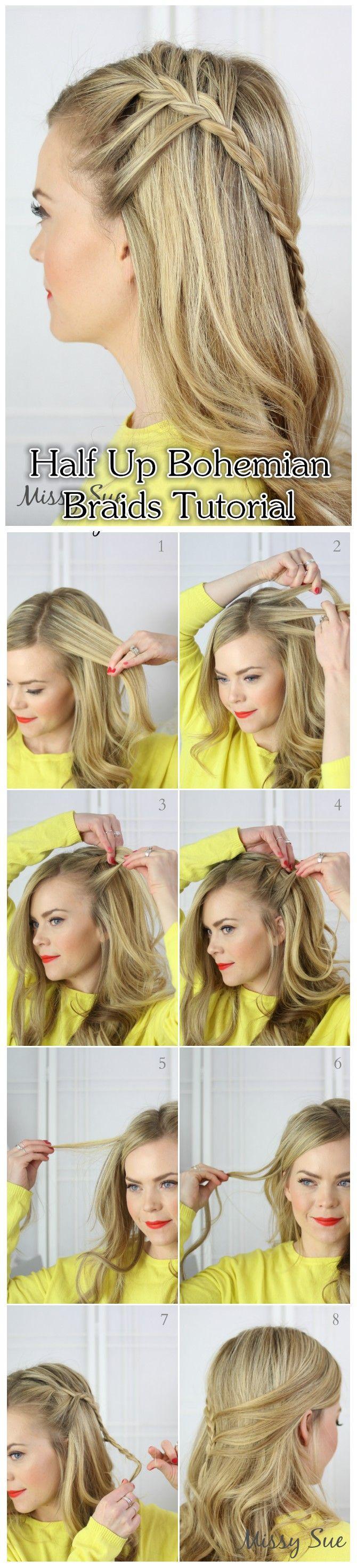 10 boho hair tutorial for the season pretty designs half up baditri Choice Image