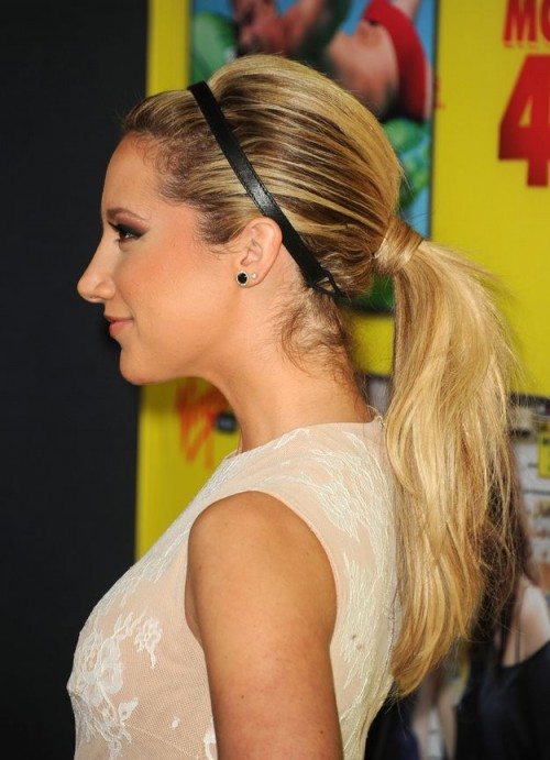 Ashley Tisdale Messy Low Ponytail