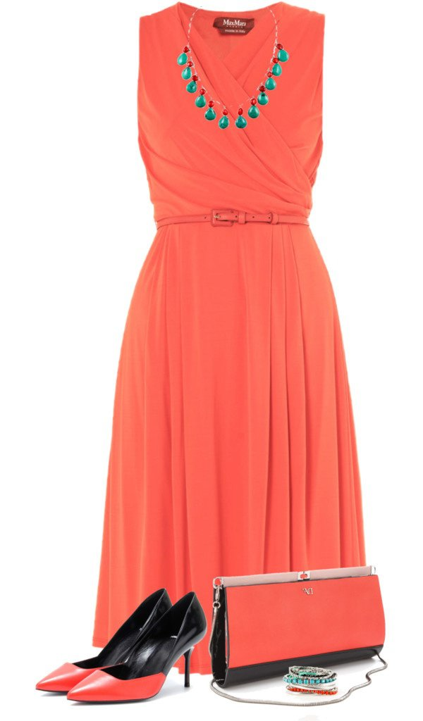 Beautiful Coral Evening Dress with Pumps