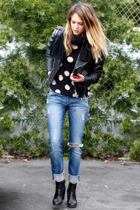 Boyfriend Jeans for Biker-Chic Look