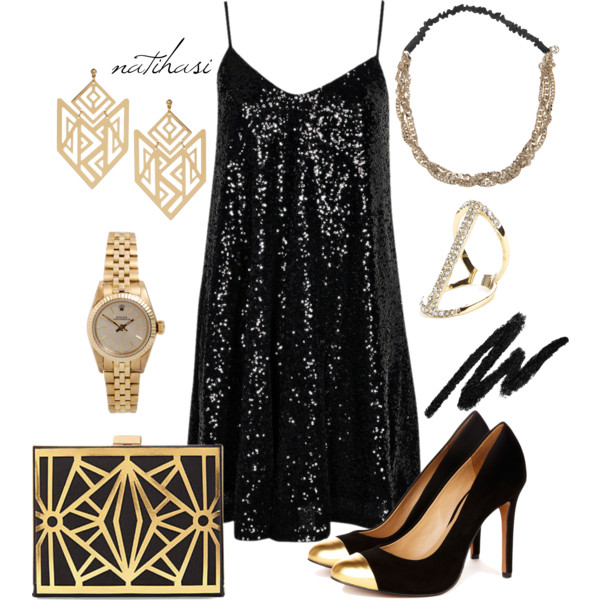 Black Evening Dress with Pumps