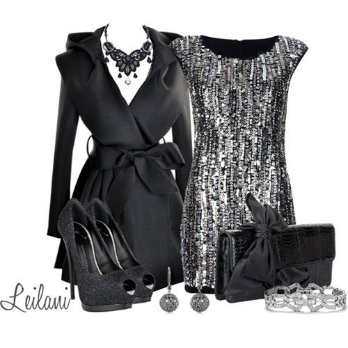 Black Sequined Outfit Look