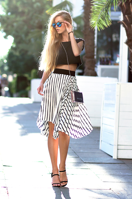 Black Top and Striped Skirt