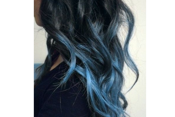 Black and Blue Wavy Hair
