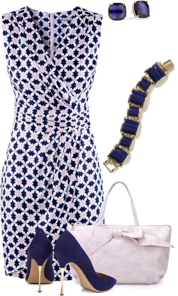 Black and White Printed Dress with Accessories