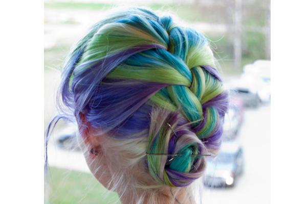 Blue, Blond, and Purple Braided Hair