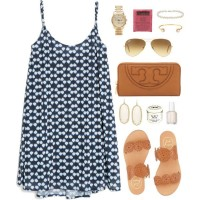 Blue Print Dress With Brown Sandles and Clutch