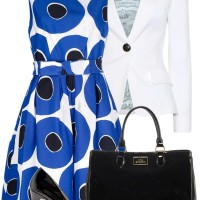 Blue Print Dress and White Blazer