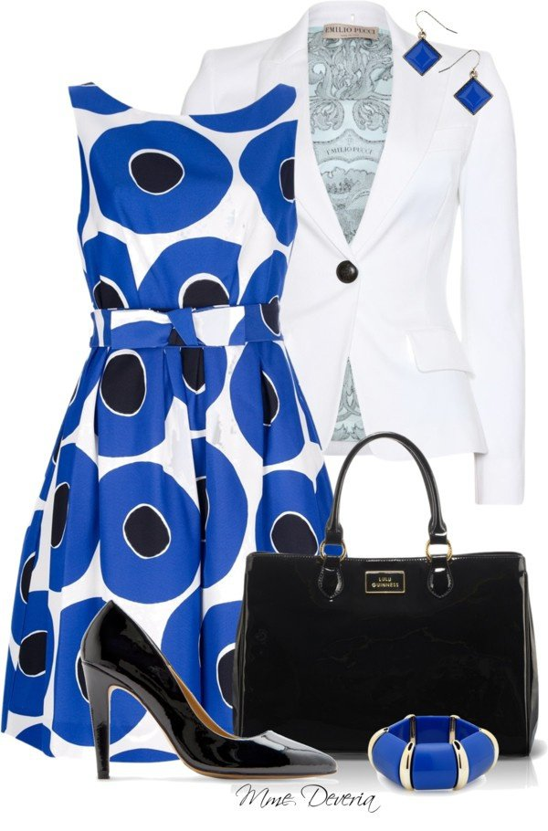 Blue Print Dress and White Blazer
