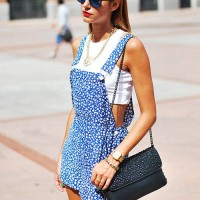 Blue Print Jumpsuit with Crop Top