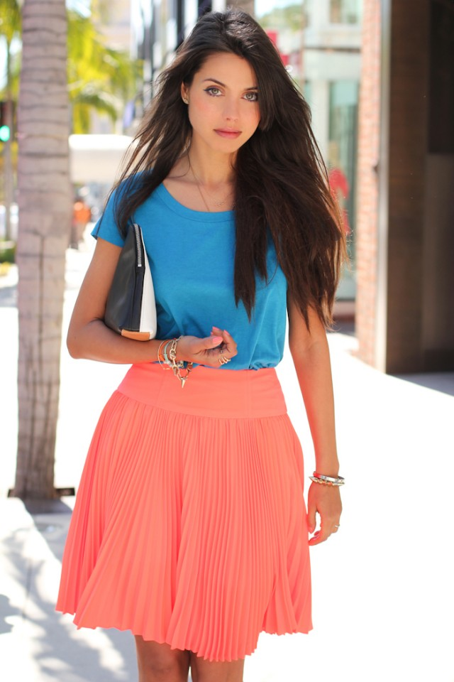 Blue Top with Pink Skirt