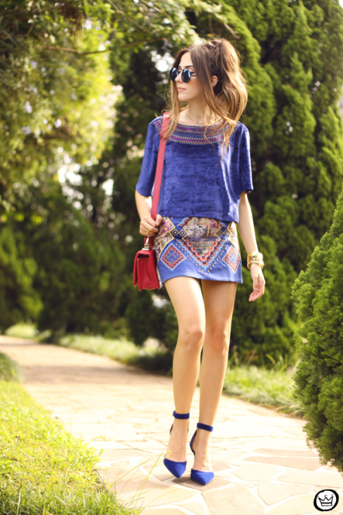 Blue Top with Print Skirt