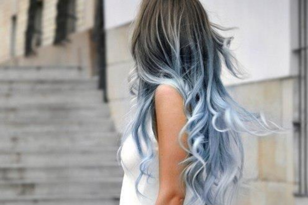 Blue and Black Wavy Hair