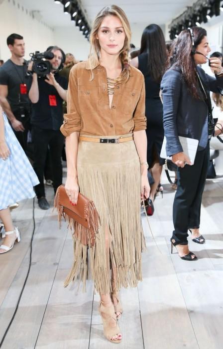 Boho-chic leather skirt
