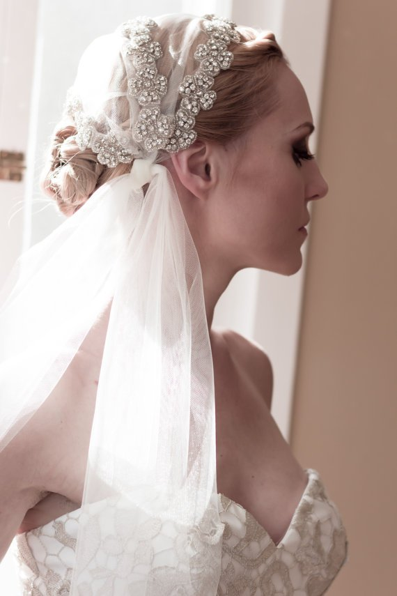 Bridal Updo Hairstyle With Veils and Hairpieces