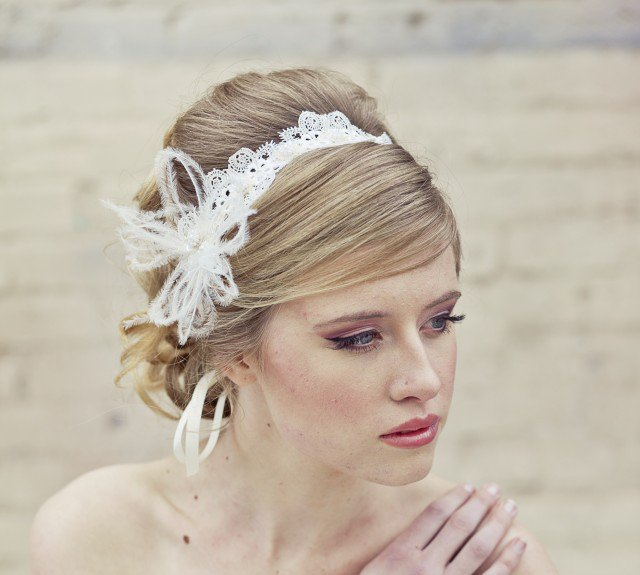 Bridal Updo Hairstyle With Lace Headband