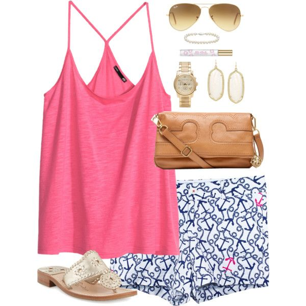 Bright Pink Top and Navy Print Shorts