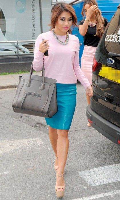 Bright colored leather skirt