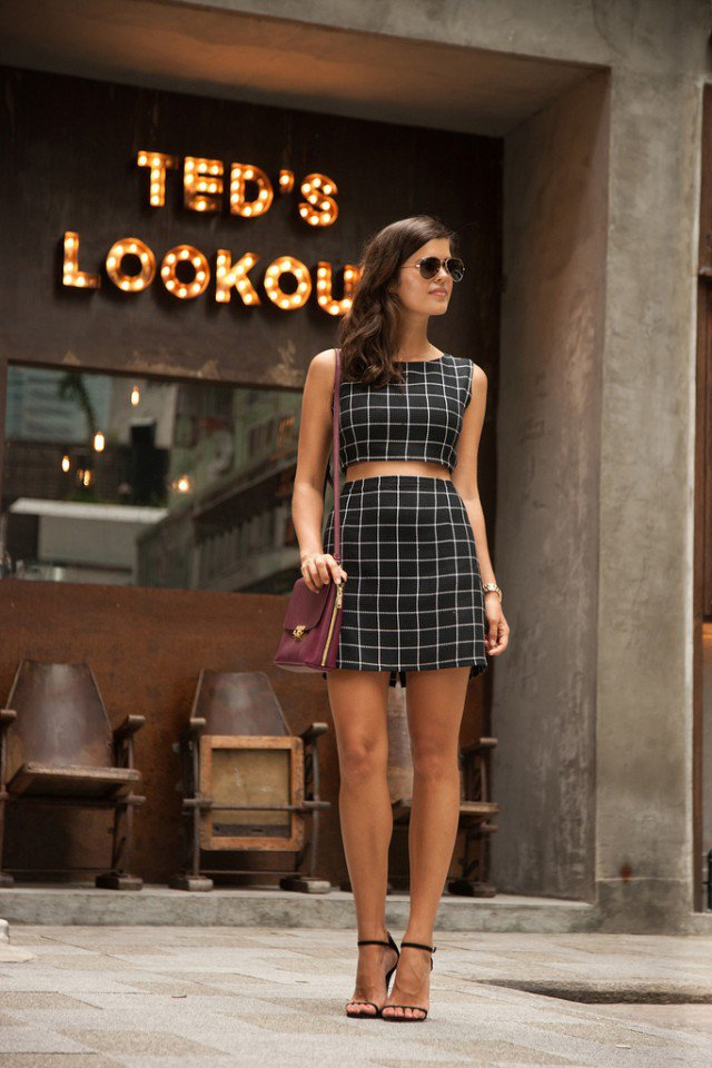Checkered Crop Top with Skirt