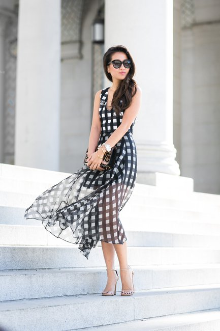 Checkered Long Flowing Dress