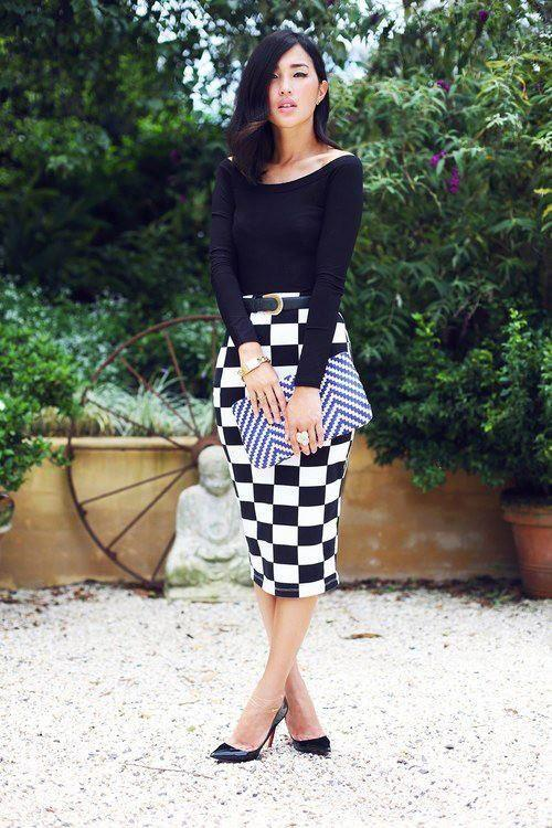 Checkered Pencil Skirt with Black Top