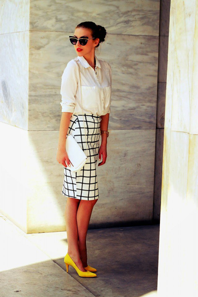 Checkered Pencil Skirt with Shirt