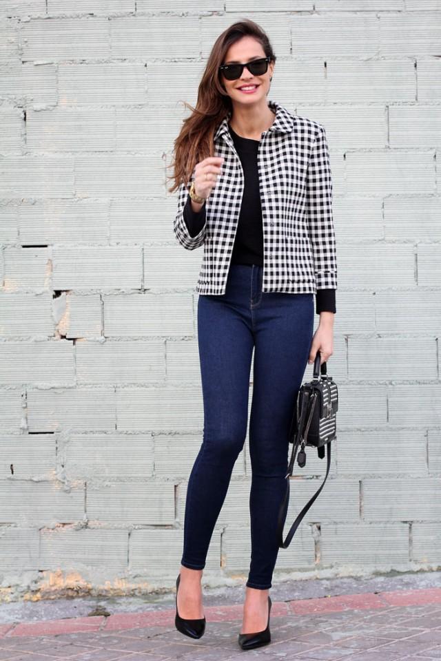 Checkered Print Blazer