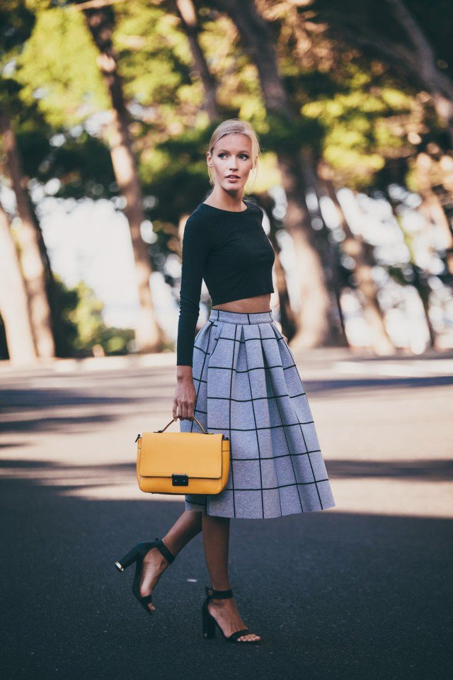 Checkered Print Full Skirt