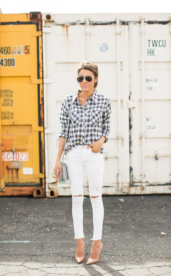 Checkered Print Shirt with White Jeans