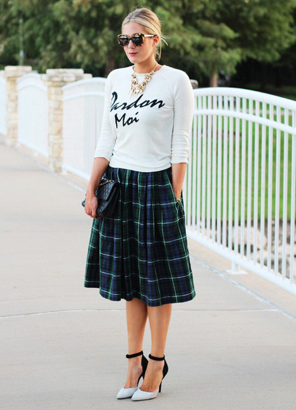 Checkered Print Skirt with T-Shirt