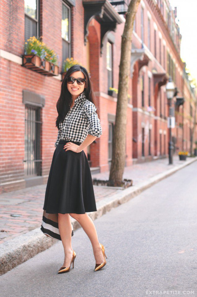 Checkered Print Top with Full Skirt