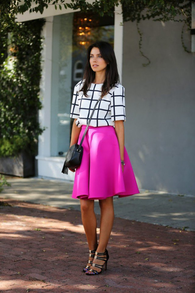 Checkered Print Top with Skirt