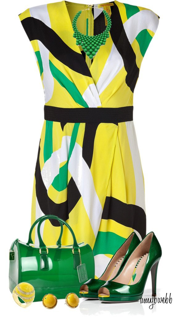 Colorful Print Dress with Accessories
