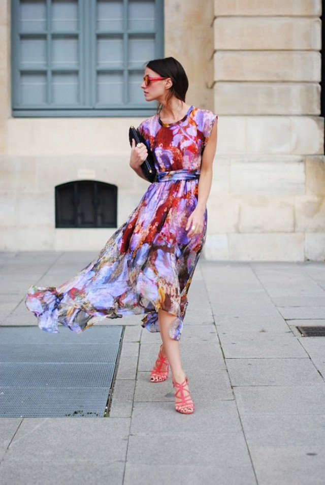 Colorful Print Maxi Dress