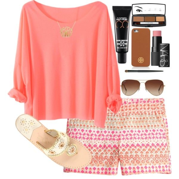Coral T-Shirt and Print Shorts